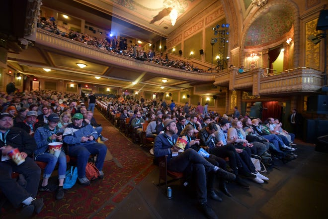 """An audience at last year's SXSW Conference watches the """"Pet Sematary"""" premiere at the packed Paramount Theatre in Austin, Texas. Facebook has now followed Twitter in dropping out of SXSW over coronavirus fears."""