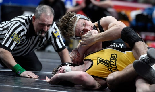 South Western's Ethan Baney, top, is seen here in a file photo. Baney has committed to wrestle at Campbell University. Campbell lost its head coach, Cary Kolat, on Friday. Kolat accepted the head coaching job at the U.S. Naval Academy.