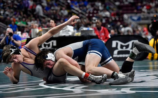 Dallastown's Brooks Gable wrestles Ethan Kauffman of Mifflin County in the 145 pound, first round PIAA wrestling championship match,  Thursday, March 5, 2020.