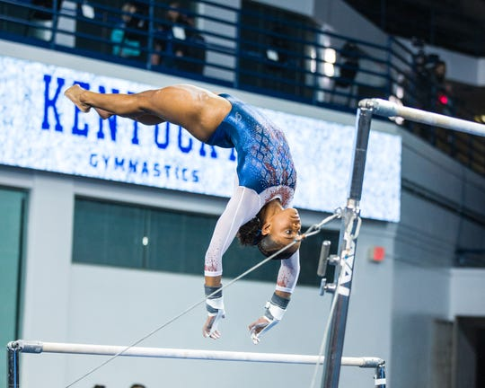 University of Florida sophomore and former West York athlete Trinity Thomas on the uneven bars against Kentucky this season. Thomas and the Gators will compete at Penn State University on Saturday.