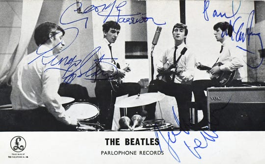 A signed, 1962 Beatles photocard–one of the earliest featuring Ringo Starr, Thursday, March 5, 2020, will be auctioned during Hake's Auctions online and phone bidding auction March 11 and 12. Bill Kalina photo