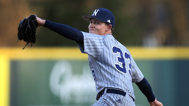 Nevada's Owen Sharts pitches during an NCAA baseball game against Oregon on Friday, Feb. 20, 2020 in Eugene, Ore. (AP Photo/Chris Pietsch)