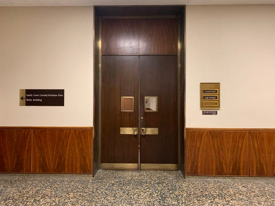 The entrance for Judge Michael Dollinger's courtroom at the Monroe County Hall of Justice.