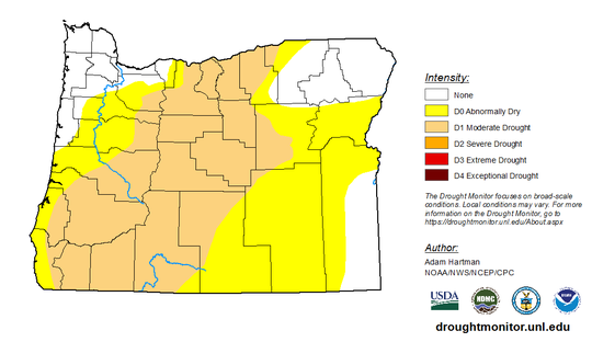 Areas impacted by drought across Oregon as of March 3, 2020.