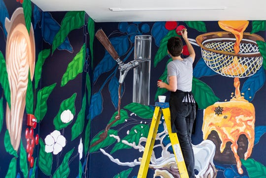 A muralby Erika Baker will be revealed Friday, March 13,at Broadway Coffeehouse.