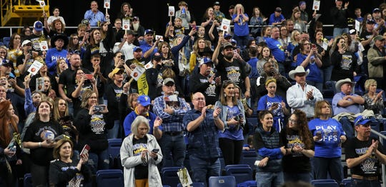 Veribest High School fans show their support for the Lady Falcons after they lost to Nazareth in a Class 1A girls basketball state semifinal game at the Alamodome in San Antonio on Thursday, March 5, 2020.