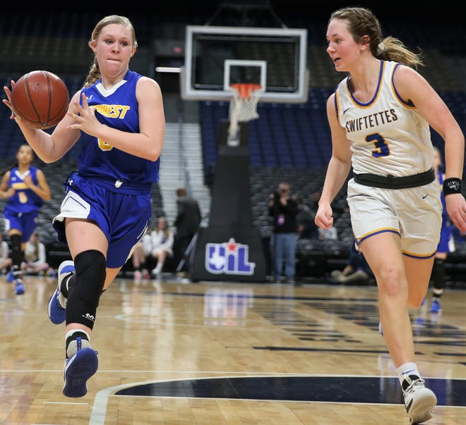 Veribest High School's Kennadi Wheeless makes a move to the basket during a Class 1A girls basketball state semifinal game against Nazareth at the Alamodome in San Antonio on Thursday, March 5, 2020.
