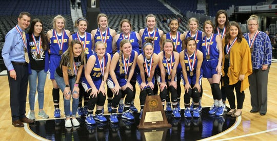 Head coach Chris Schlicke and the Veribest High School Lady Falcons got the third-place trophy in their first showing at the UIL Class 1A girls state basketball tournament at the Alamodome in San Antonio on Thursday, March 5, 2020. Nazareth beat Veribest 43-23 in the semifinals.