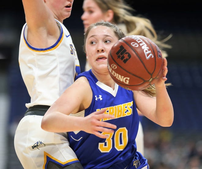 Veribest High School's Callie Briley controls the ball during the UIL Class 1A girls basketball state semifinal game against Nazareth at the Alamodome in San Antonio on Thursday, March 5, 2020. Nazareth won 43-23.