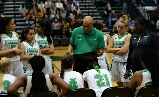 Parkside head coach Warren White talks with his team during a timeout on Wednesday, March 4, 2020.