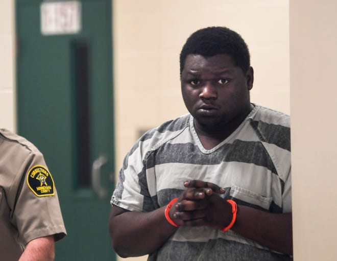 Jahennessy Deunique LaPaul Bryant walks to court on Thursday, March 5, 2020 at the Minnehaha County Jail. Bryant was charged with the killing of a Domino's delivery driver last week.