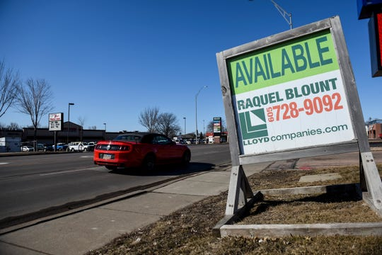 Signs advertising business spaces for rent are seen along 41st Street on Wednesday, March 4, 2020 in Sioux Falls.