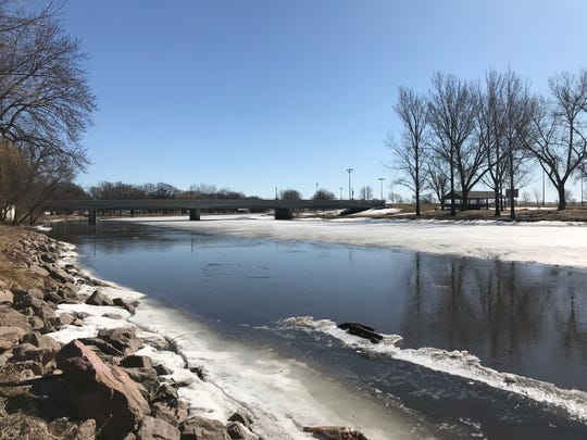 The Big Sioux River at Dell Rapids is shown on Wednesday.  The river reached major flood stage both last spring and fall.