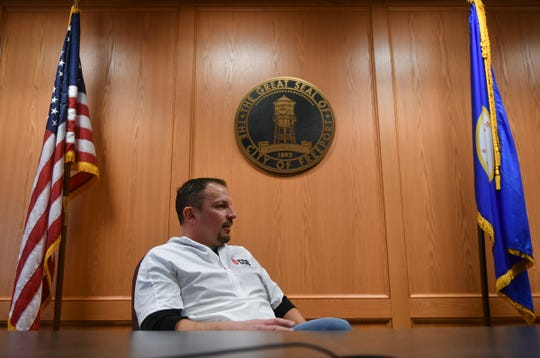 Freeport mayor Mike Eveslage talks about efforts underway to raise funds to preserve the city's smiley-face water tower during an interview Thursday, March 5, 2020, in Freeport.