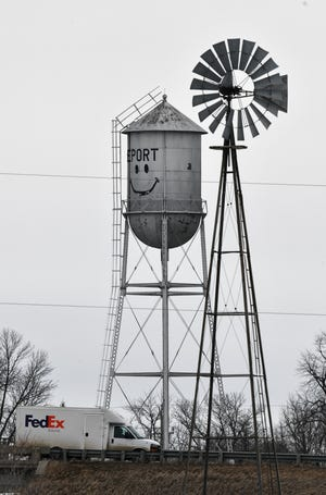 The iconic water tower near Interstate 94 is pictured Thursday, March 5, 2020, in Freeport.