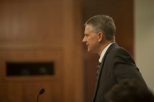 Prosecuting attorney Jerry Jaeger questions Bronson Flynn, who is accused of shooting and killing a man at a St. George bar Thursday, March 5, 2020.