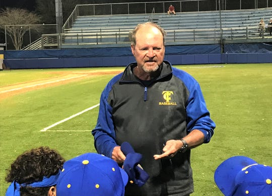 TCC baseball head coach Mike McLeod addresses his team after a doubleheader sweep of Thomas University on Wednesday, March 4, 2020.