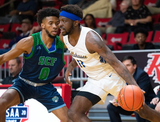Panhandle Conference Newcomer of the Year Tariq Silver scored 13 points in TCC's 67-59 win over State College of Florida in the first round of the Region VII tournament in Niceville on Wednesday, March 4, 2020.