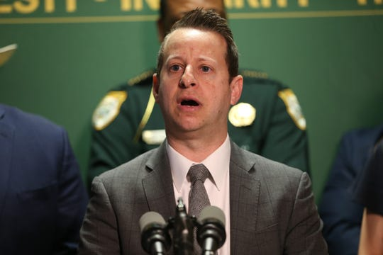 Florida Division of Emergency Management Director Jared Moskowitz speaks at a press conference held by Gov. Ron DeSantis and First Lady Casey DeSantis at the Gadsden County Sheriff's Department Thursday, March 5, 2020.