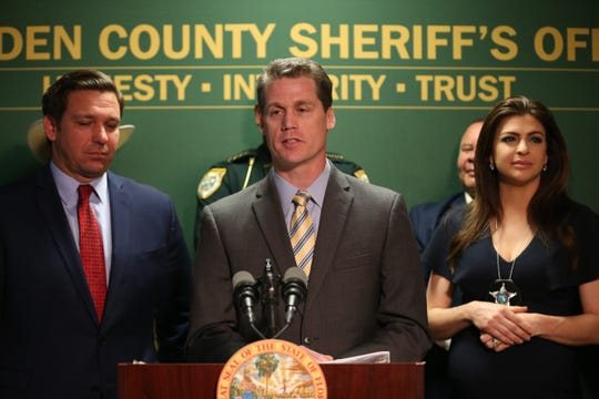 Department of Children and Families Secretary Chad Poppell speaks at a press conference held by Gov. Ron DeSantis and First Lady Casey DeSantis at the Gadsden County Sheriff's Department Thursday, March 5, 2020.