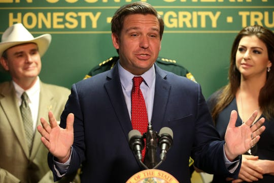 Gov. Ron DeSantis announces $2.2 million in funding from the Hurricane Michael State Recovery Grant Program going to Gadsden County during a press conference held by the governor and First Lady Casey DeSantis at the Gadsden County Sheriff's Department Thursday, March 5, 2020.
