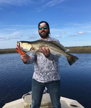 Colby Hough caught this beautiful 27 inch  Gator Trout while fishing near Aucilla.