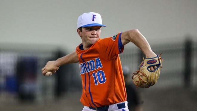 Florida pitcher Tyler Nesbitt (10) during an NCAA baseball game against Florida A&M on Wednesday, March 4, 2020, in Gainesville, Fla. (AP Photo/Gary McCullough)