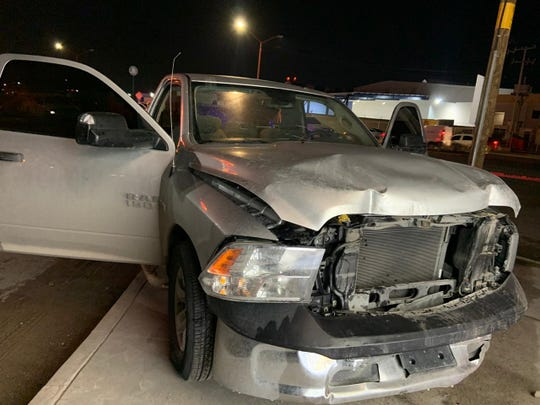 Chihuahua state police seized a crashed Dodge Ram believed to be linked to a shootout at the airport in Juárez, Mexico, on Wednesday, March 4, 2020.