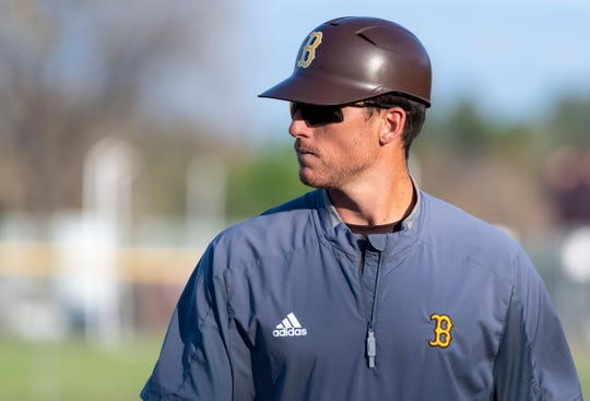 Golden West coach Brent Hall against Kingsburg in non-league high school baseball game on Wednesday, March 4, 2020.