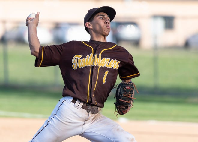 Golden West's Matthew Gonzales pitches against Kingsburg in non-league high school baseball game on Wednesday, March 4, 2020.