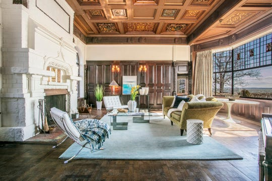 The home's first owner, automotive pioneer Charles King included many items he purchased from an about-to-be-demolished Vanderbilt mansion and those details are intact, including a two-story fireplace and the coffered wooden ceiling.