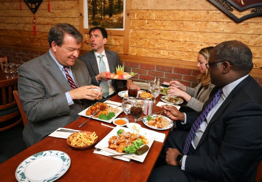 Westchester County Executive George Latimer; New Rochelle Mayor Noam Bramson; Sara Kaye, a New Rochelle Council Member and Kenneth Jenkins, the Deputy County Executive enjoy their lunch at Eden Wok on North Avenue in New Rochelle, March 5, 2020. They were there to speak to the press about eating out in public in the Wykagyl neighborhood in New Rochelle.