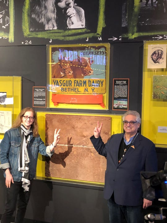 Karen Harris, vice president of collections and curatorial affairs for the Rock & Roll Hall of Fame; and Steve Gold, founder of Peace Of Stage.