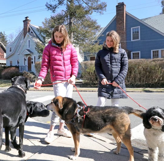 """""""I feel like it's only going to get worse, and we're only going to be missing more school,"""" said Emma Nathenson, right,  her sister Sophia Nathenson, 12, while walking dogs in Hastings March 5, 2020."""