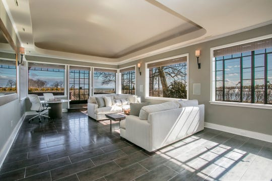 There are water views from 16 rooms in the home, including from the master closet.