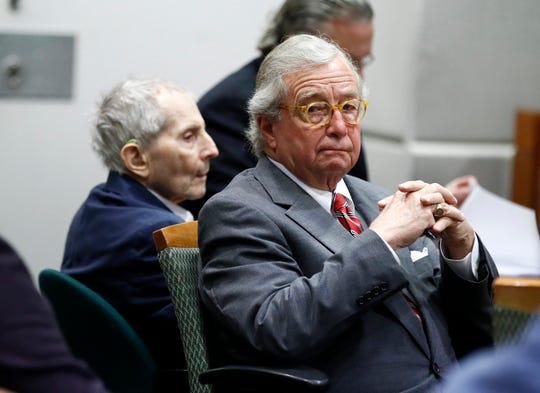 Defense attorney Dick DeGuerin, right, sits with his client real estate heir Robert Durst during Durst's murder trial at the Airport Branch Courthouse in Los Angeles on Wednesday, March 4, 2020. After a Hollywood film about him, an HBO documentary full of seemingly damning statements, and decades of suspicion, Durst is now on trial for murder. In opening statements Wednesday, prosecutors will argue Durst killed his close friend Susan Berman before New York police could interview her about the 1982 disappearance of Durst's wife, Kathie, in Westchester County, New York.