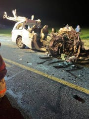 Multiple fire companies, paramedics and Delaware State Police helicopters responded to a fatal crash in Harrington Wednesday night.