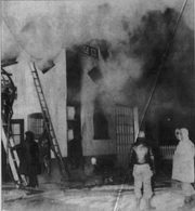 A fire destroyed the warehouse and storeroom at Rapids Beverage Company on Jan. 5, 1950