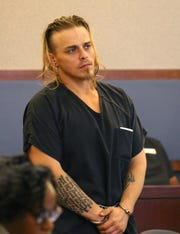 Corey Trumbull, 31, wanted in the slaying of an 11-year-old boy in Texas, appears in court at the Regional Justice Center on Thursday, March 5, 2020, in Las Vegas. Trumbull was arrested in Las Vegas after police responded to a call about a domestic violence attack on Boulder Highway on Feb. 25. (Bizuayehu Tesfaye/Las Vegas Review-Journal) @bizutesfaye