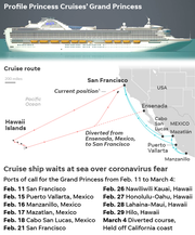 SOURCE Princess Cruise Lines; maps4news.com/©HERE; USA TODAY reporting; 1 – As of March 5 10 a.m. ET
