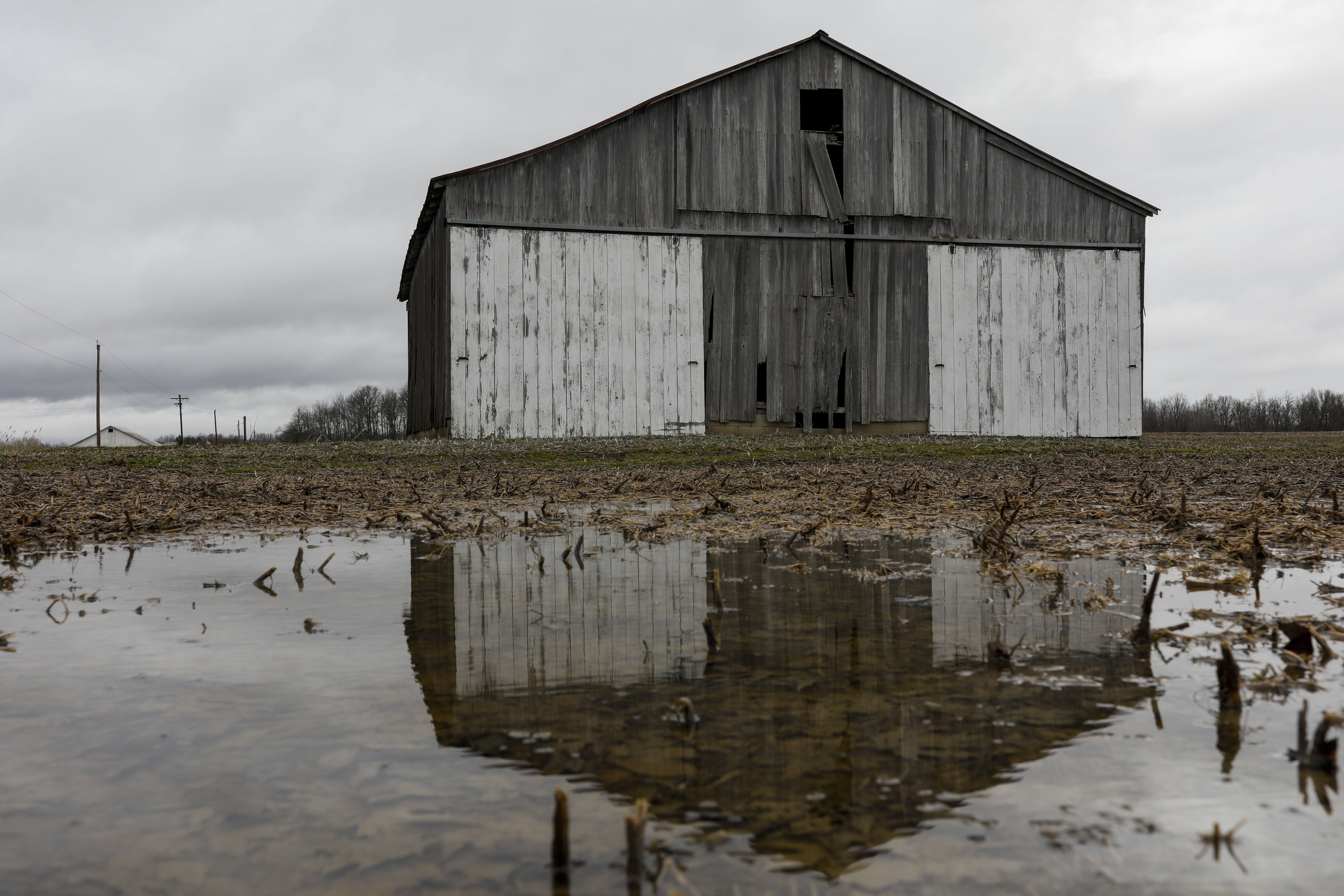 A barn sits in a field once worked by Charlie Utter's cousin, a farmer who died by suicide in July 2017, Tuesday, March 3, 2020 in Georgetown, Ohio. [Joshua A. Bickel/Dispatch]