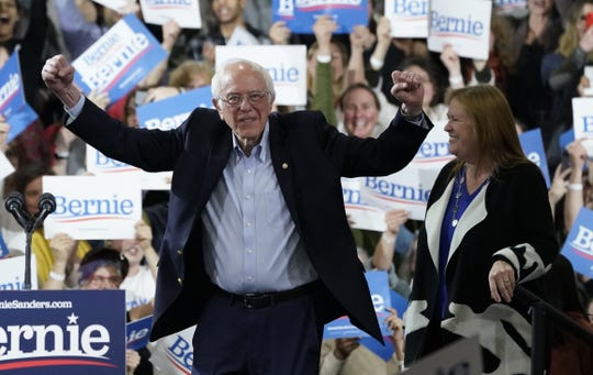 Bernie and Jane Sanders on Super Tuesday, March 3, 2020, in Essex Junction, Vermont.