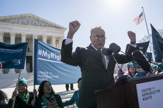 Senate Democratic leader Chuck Schumer addresses an abortion rights rally at the Supreme Court on March 4, 2020.