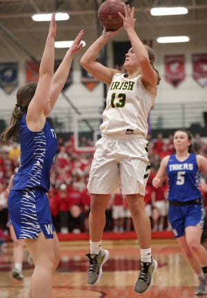 Freedom's Gabby Johnson (13) has committed to play college basketball at St. Thomas, which announced recently it will be transitioning to Division I for athletics.