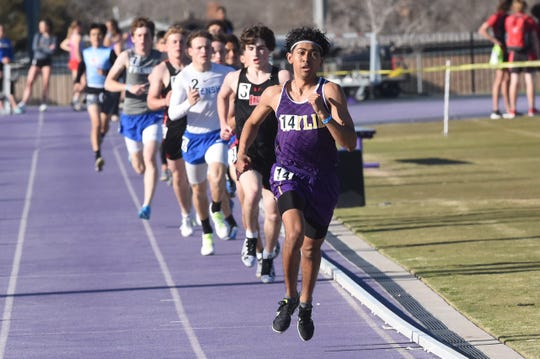 Wylie's Victor Charo leads the boys 800-meter run after the first lap at the ACU Wildcat Relays at Elmer Gray Stadium on Thursday. Charo won the 800 (1:59.05) and finished second in the 400 (52.59).