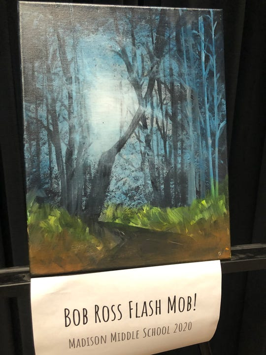 """The finished product of Bob Ross Flash Mob 2020, created by Madison Middle School art teacher Brady Sloane, which guided her students along with a video of Bob Ross from an episode of his show """"The Joy of Painting."""" Sloane said she created the Bob Ross event a year ago to give students an outside-the-box activity."""