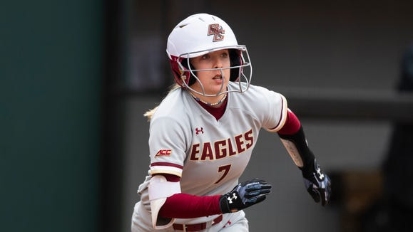 Boston College player Abigail Knight is shown during an NCAA softball game against Western Carolina on Friday, February 28, 2020, in Athens, Ga. (AP Photo/John Amis)