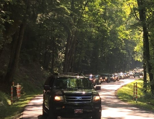Laurel Creek Road on vehicle-free days in the Smokies can be backed up for hours waiting for gates to open to vehicles.