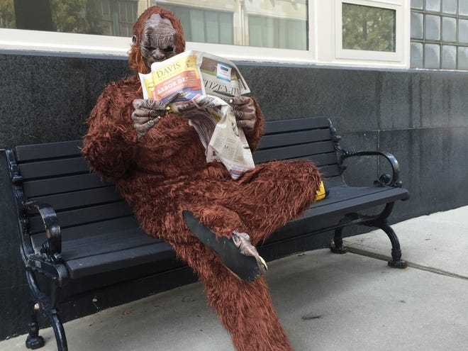 After a fellow reporter wrote a story about a report of Bigfoot in the mountains, columnist John Boyle donned the costume and did a walkabout in downtown Asheville.
