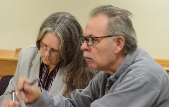 Lynn and Dennis Norrod listen during testimony in February.